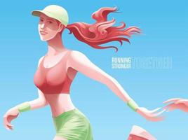 Woman  jogging with someone  vector