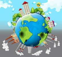 Ecology versus polluted world concept vector