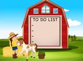 To do list board template in a farm scene