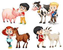Boys and girls with farm animals  vector