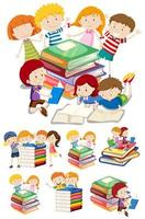 Set of cartoon kids with books  vector