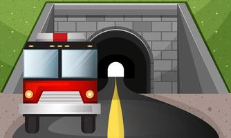 Fire truck driving out of a tunnel vector