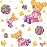 Seamless pattern background with cute dolls and balls
