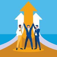 empresarios exitosos celebrando con flechas hacia arriba vector
