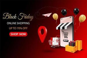 Black friday online shopping banner vector