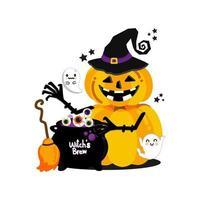 Halloween pumpkin witch design vector