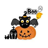 calabaza y murciélago para diseño de halloween