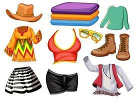 conjunto de trajes y accesorios vector