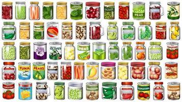 comida en latas y frascos conjunto de iconos vector