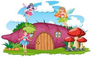 Cartoon fairies with sweet potato house
