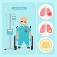 Senior man with lung cancer vector
