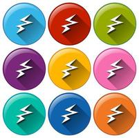 Colourful energy symbol button set vector