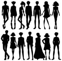 Set of human silhouettes