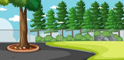 Outdoors scene with pine trees vector