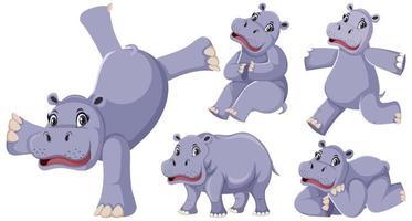 feliz hipopótamo conjunto vector