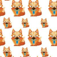 Cute tribal fox seamless pattern background vector