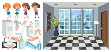 Sick children, hand sanitizing station and room background vector