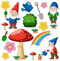 Set of garden gnomes cartoon characters