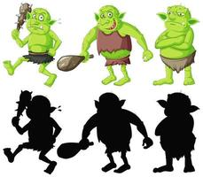 Set of green goblins with black silhouette vector