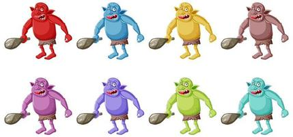 Set of colorful angry goblins vector