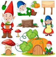 Set of garden gnomes cartoon character vector