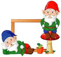 Gnomes with blank banner in cartoon characters