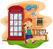 Girl talking on the mobile phone vector