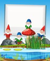Gnomes group standing beside swamp