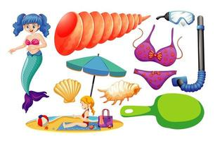 Set of mermaid and summer icons vector