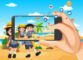 Taking travelling photo by smartphone  vector