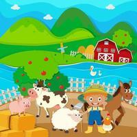 Farm theme with farmer and farm animals vector