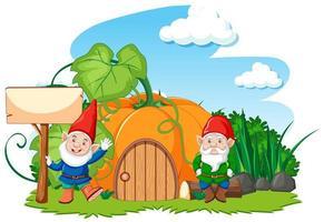 Gnomes and pumpkin house  vector