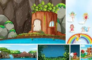 Six different scene of fantasy world vector