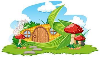 Corn house with mushroom cartoon  vector