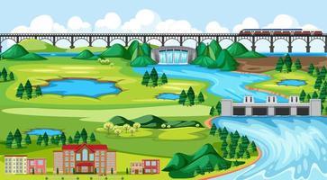 paisaje de tren de ciudad y puente vector