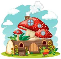Timber mushroom house and in the garden cartoon style on sky background vector