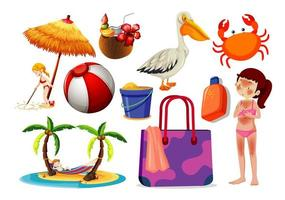Set of summer and beach icons vector