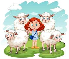 Red hair girl and sheeps on the field vector