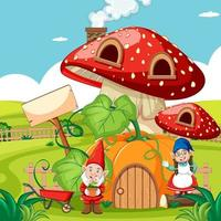 Gnomes and pumpkin mushroom house  vector