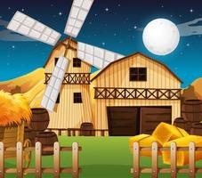 Farm scene with barn and mill at night vector