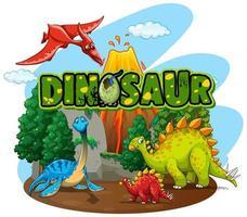 Font for word dinosaur  vector