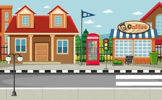 Street side scene with house and coffee shop scene vector