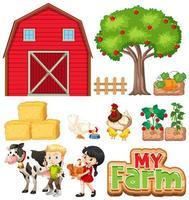 Set of farm animals and barn