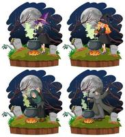 conjunto de brujas con olla mágica negra