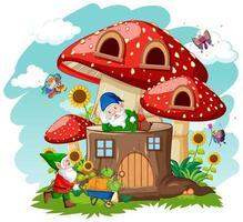 gnomos y casa de setas de tocón