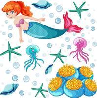 conjunto de sereia e animal marinho