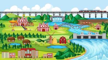ciudad con parque de atracciones y ribera.