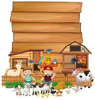 cartel de madera en blanco con juego de granja de animales