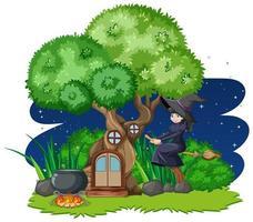 Bruja montando escoba junto a la casa del árbol