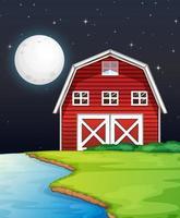 Escena de la granja con granero y lado del río por la noche.